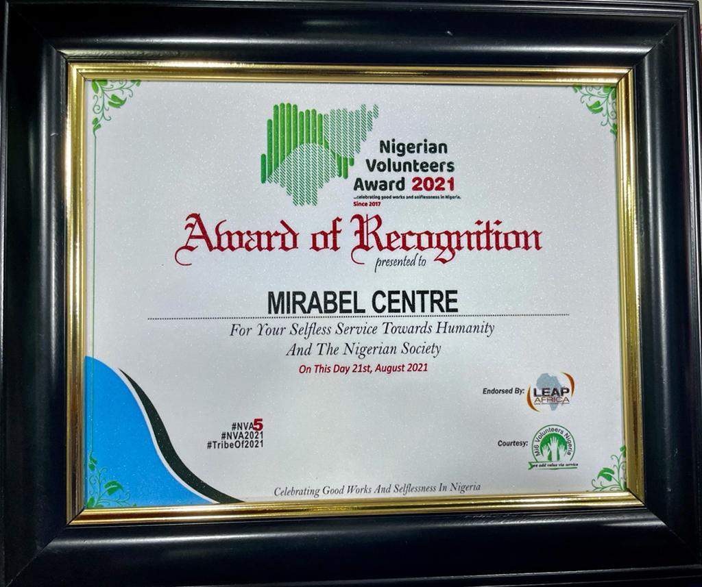Mirabel Centre Bags Award at the 2021 Nigeria Volunteers Award